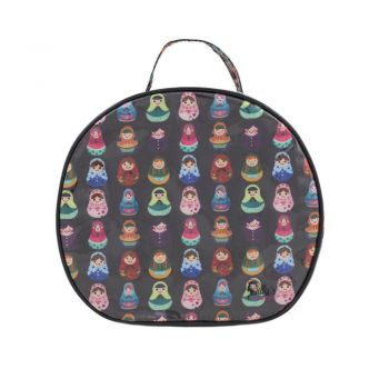Babushka Print Large Round Cosmetic Bag