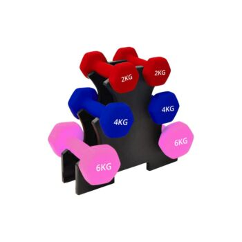 Verpeak Dumbbell Set Neoprene Weights, Anti-Slip with Cast Iron Core, for Home Gym Fitness Weightlifting Toning 24 KG Set With Rack