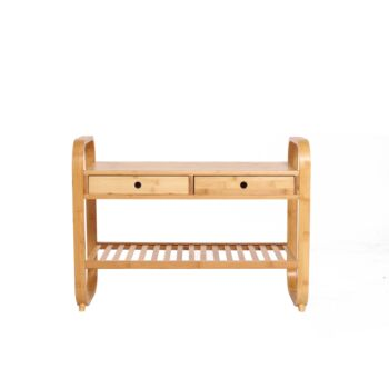 Sherwood Home Seated Shoe Storage Rack and Organiser with Bench - Natural Bamboo - 105x34x55cm