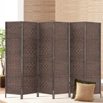 Artiss 6 Panel Room Divider Screen Privacy Rattan Timber Dividers Stand Woven