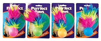 Cat Toy TPR Ball w Feather Tail & Bell 4 Asstd Colours
