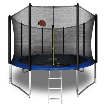 Pop Master 12FT Flat Trampoline w/ Basketball Hoop Ladder Kids Children Outdoor