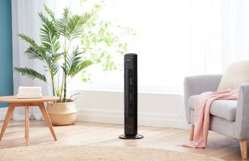 81cm Tower Fan with Remote - Black finish