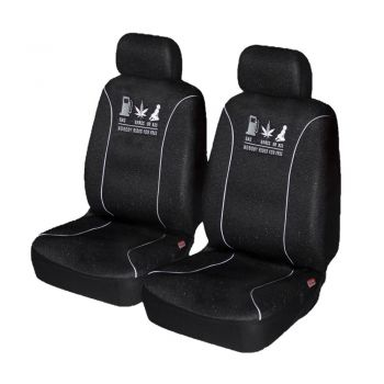 Universal Nobody Rides For Free Front Seat Covers Size 60/25 | White