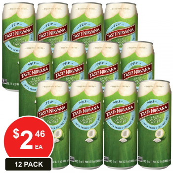 12 Pack, Taste Nirvana 480ml Coconut Water With Pulp