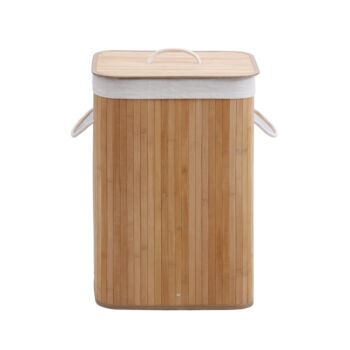 Sherwood Home Rectangular Collapsible Bamboo Laundry Hamper With Polycotton- Natural Brown