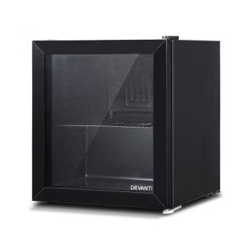 Devanti 46L Bar Fridge Glass Door Black Mini Freezer Refrigerator Cooler Home Office Commercial