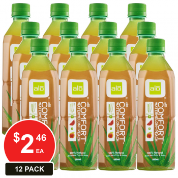 12 Pack, Alo 500ml Aloe Vera Comfort Watermelon Peach