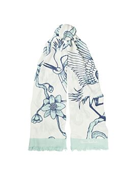 Florence Broadhurst Accessories Egrets Women's Teal Scarf