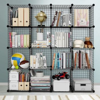 Cube Storage Wire Cabinet Metal DIY 16 Cubes Boxes Shelves Shelf Rack Bookcase Toy Organiser Display Stand Black