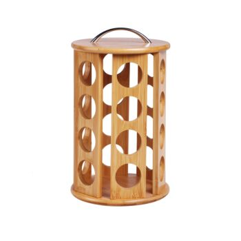 Sherwood Home  24 Coffee Pod Bamboo Carousel Dolce Gusto Compatible - Natural Brown
