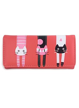 Melon Large Cat Wallet Non Leather Fashionable Cat Lover With Printed Cat Design Per-Fect For A New Ladies Girls Purse Wallet