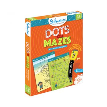 Skillmatics Dots and Mazes - Repeatable Write and Wipe Educational Activity Games For Kids With Free Pen