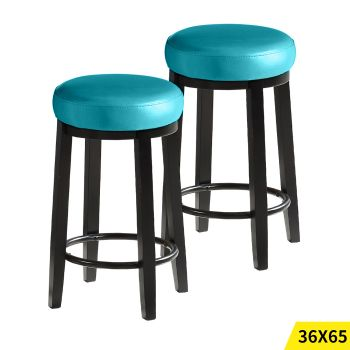 2x Levede 65cms Wooden Kitchen Swivel Bar Stools in Blue Colour