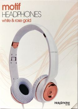 White Rose Gold Holysmoke Motif On Ear Foldable Headphones