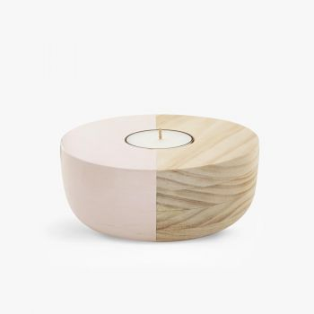 Small Wooden Bowl Maxi Tea Light Holder - Pink