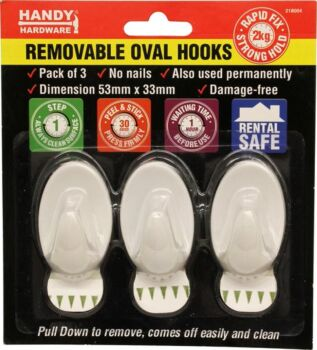 Adhesive Removable Hooks 3 Pack 53 x 33mm