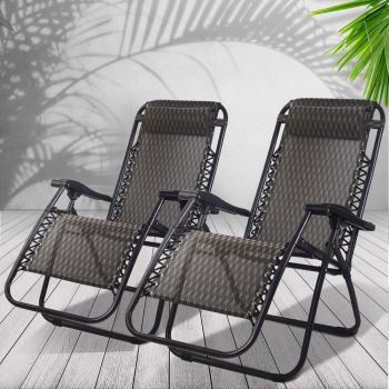 Gardeon Zero Gravity Chairs 2PC Reclining Outdoor Furniture Sun Lounge Folding Camping Lounger Grey