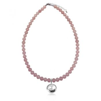 Rose Quartz Natural Gemstone & CZ Personalized Initial Letter Charm Stretch Beaded Necklace.