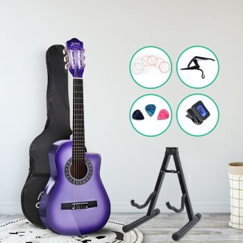 """Alpha 34"""" Inch Guitar Classical Acoustic Cutaway Wooden Ideal Kids Gift Children 1/2 Size Purple w/ Capo Tuner"""