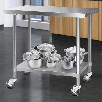 Cefito 1219x610mm Stainless Steel Kitchen Benches Work Bench Food Prep Table 304 Food Grade Stainless Steel w/ Wheels