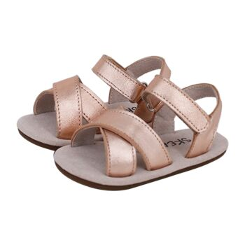 SKEANIE Baby & Toddler Leather Cross Sandals Rose Gold