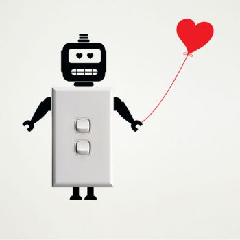 Robot with Heart Wall Sticker for Light Switches