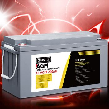Giantz 200Ah Deep Cycle Battery 12V AGM Marine Sealed Power Portable Box Solar Caravan Camping