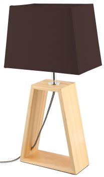 LUMINITE WOOD TABLE LAMP OBO CHOC 20X12X38