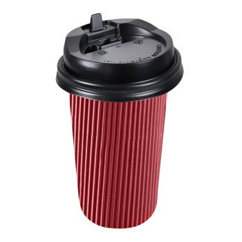 Disposable Takeaway Coffee Cups With Lids Red 200pcs 16oz