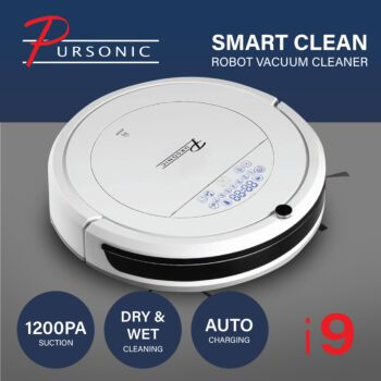 Pursonic i9 Robotic Vacuum Cleaner Carpet Floor Dry Wet Mopping Auto Robot White