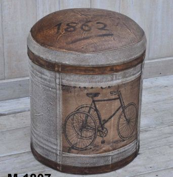Vintage Bicycle Leather And Canvas Round Ottoman