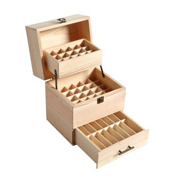Essential Oil Wooden Storage Box 59 Slots Aromatherapy Organiser Container