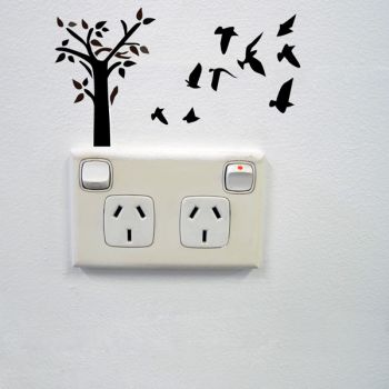 Tree and Birds Wall Sticker for Sockets