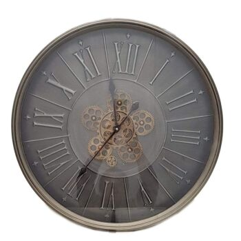 Round 60Cm George Modern Moving Cogs Wall Clock - Grey