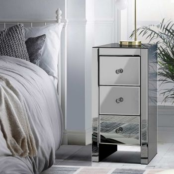 Mirrored Furniture Bedside Tables Table Drawers Chest Nightstand Grey