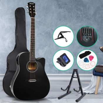 Guitar 41 Inch Electric Acoustic Guitars Wooden Classical Bass Folk Music w/ Capo Tuner Stand For Kids And Adult Full Size Alpha Black