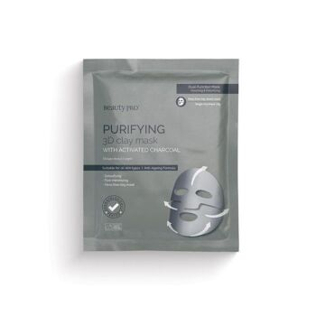 BeautyPro Purifying 3D Clay Face Mask with Activated Charcoal (1 x Single Use, 18g)