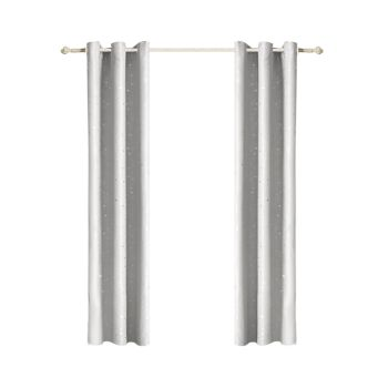 DreamZ Eyelet Curtains Star Blockout Curtain 3 Layers in Silver