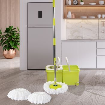 Spin Mop Bucket Set 360° Spinning Stainless Steel Rotating Wet Dry Wheels AU