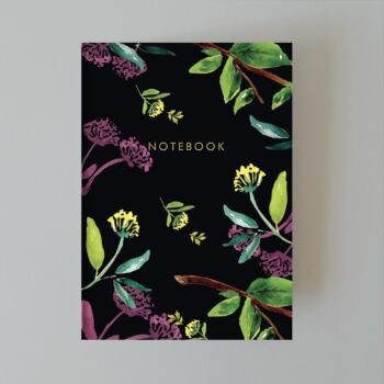 Black Floral - lined journal 48 pages A5