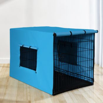 """i.Pet 48"""" Dog Cage With Cover Pet Crate Kennel Folding Collapsible Portable BL"""
