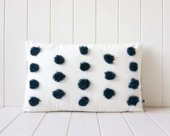 Tufted Cushion- Blue Spots on White - 30x50