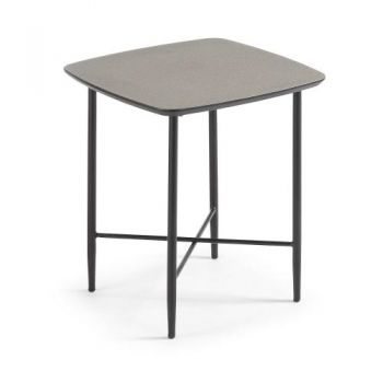 Hetah Square Side Table - Black Metal Legs - Dark Cement Finish Top