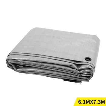 6.1x7.3M Heavy Duty PE Poly Tarps Camping Cover 200gsm