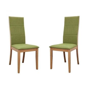 Set of 2 - Society Scandinavian Fabric Dining Chair - Oak Wooden Frame - Green