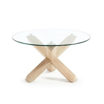 Nora Round Glass Coffee Table - 65cm - Natural Oak Legs - Clear Glass Top