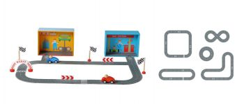 Racing Car Playset with Paper Puzzle Road