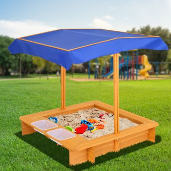 Kids Sandpit Wooden Outdoor Play Sand Pit Water Toys Box Canopy Children Keezi