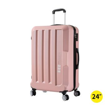 "Luggage TSA Hard Case Suitcase Travel Lightweight Trolley Bag 24"" Pink"